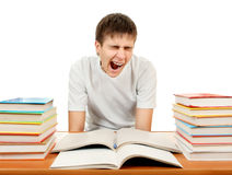 Tired Student with a Books Stock Photos