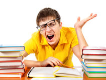 Tired Student with the Books Stock Photography
