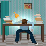 Tired student fall asleep on the book Stock Photos