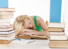 Tired student fell asleep. At the table Stock Images