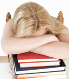 Tired student fell asleep. On books Royalty Free Stock Photo