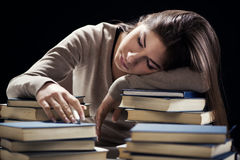 Tired student girl Stock Photos