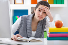 Tired student girl Stock Image