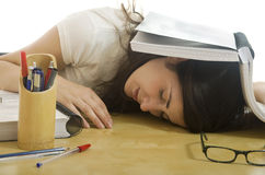 Tired student girl Stock Photography