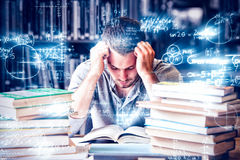 Tired student having lot to read royalty free stock image