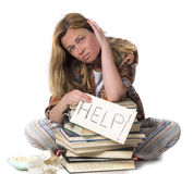 Tired student needs help Stock Photos