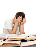 Tired Student. On the School Desk Isolated on the White Background Royalty Free Stock Photos