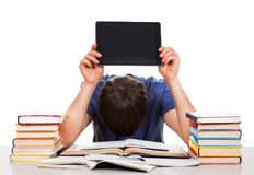 Tired Student with a Tablet Stock Photo