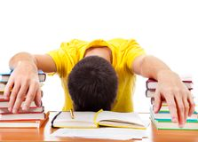 Student sleep on the Books Stock Images