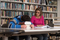 Tired Student Sleeping In Library. Sleeping Student Sitting And Leaning On Pile Of Books In College - Shallow Depth Of Field Stock Images