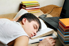 Tired Student sleeping Royalty Free Stock Photos