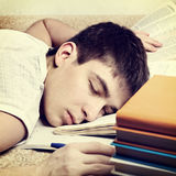 Tired Student sleeping Royalty Free Stock Images