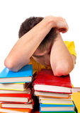 Tired Student sleeping. Tired Young Man sleep on the Books Stock Images