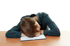 Tired student slieeping Royalty Free Stock Photo