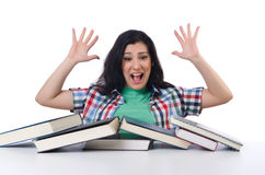 Tired student with textbooks Royalty Free Stock Image