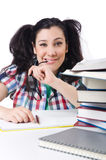Tired student with textbooks Stock Photography