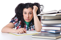 Tired student with textbooks Royalty Free Stock Images