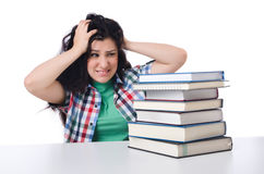 Tired student with textbooks Royalty Free Stock Photo