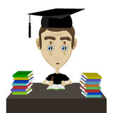 Tired student. Vector tired student with sustaining matches eyes illustration Stock Images