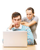 Tired students with laptop Royalty Free Stock Images