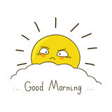 Tired sun wishes you good morning Royalty Free Stock Images
