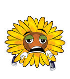 Tired Sunflower cartoon Royalty Free Stock Images