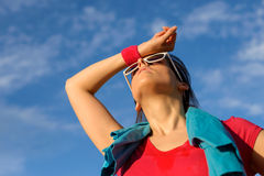 Tired sweaty fitness girl Stock Images