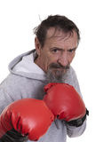 Tired sweaty old boxing sportsman Royalty Free Stock Image