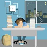 Tired teenager boy sleep at the table with books. Cartoon vector illustration Royalty Free Stock Image