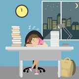 Tired teenager girl sleep at the table with books. Cartoon vector illustration Stock Image
