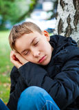 Tired Teenager outdoor Stock Photo