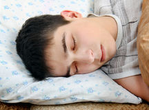 Tired Teenager sleep. On the Couch closeup Royalty Free Stock Photos