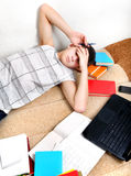 Tired Teenager on Sofa Stock Images