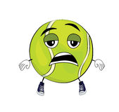 Tired Tennis ball cartoon Stock Images