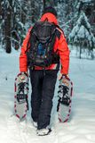 Tired tourist carries snowshoes in their hands. In the winter forest Royalty Free Stock Photos