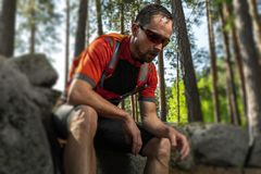 Tired trail running athlete stock photography