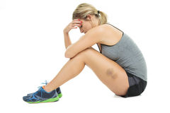 Tired training woman Stock Photo