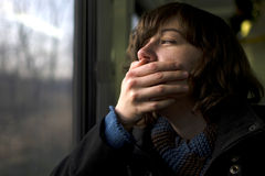 Tired traveler Stock Image