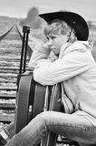 The tired traveler, black and white Stock Images