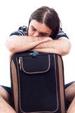 Tired traveler tourist man sleeping on luggage Royalty Free Stock Photos
