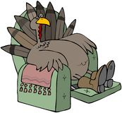 Tired Turkey In A Recliner. This illustration depicts a tired turkey sitting in a recliner chair Stock Photography