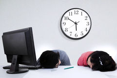 Tired two business people Royalty Free Stock Image