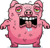 Tired Ugly Pig. A cartoon illustration of an ugly pig looking tired Royalty Free Stock Photos