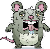 Tired Ugly Rat. A cartoon illustration of an ugly rat looking tired Stock Image
