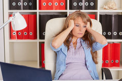 Tired unhappy business woman. Royalty Free Stock Photo