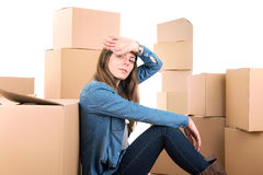 Tired of unpacking Stock Photo