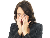 Tired Upset Stressed Upset Business Woman Stock Image