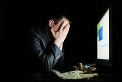 Tired user in front of the monitor Stock Photos