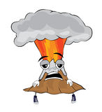 Tired volcano cartoon Royalty Free Stock Photo