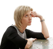 Tired Woman. Attractive Exhausted Tired Woman with Blond Hair Thinking about her Problems Stock Photography